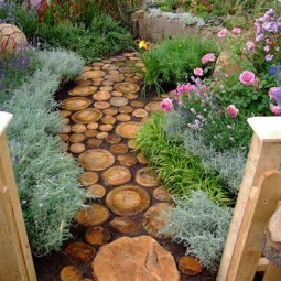 Reuse an old tree to make a log pathway. share if you like the idea..jpg