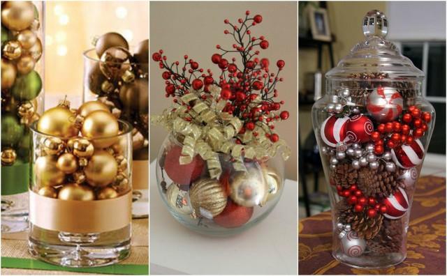 Tolle weihnachtskugeln in vasen zum selbermachen - Glasvasen dekorieren mit lichterkette ...