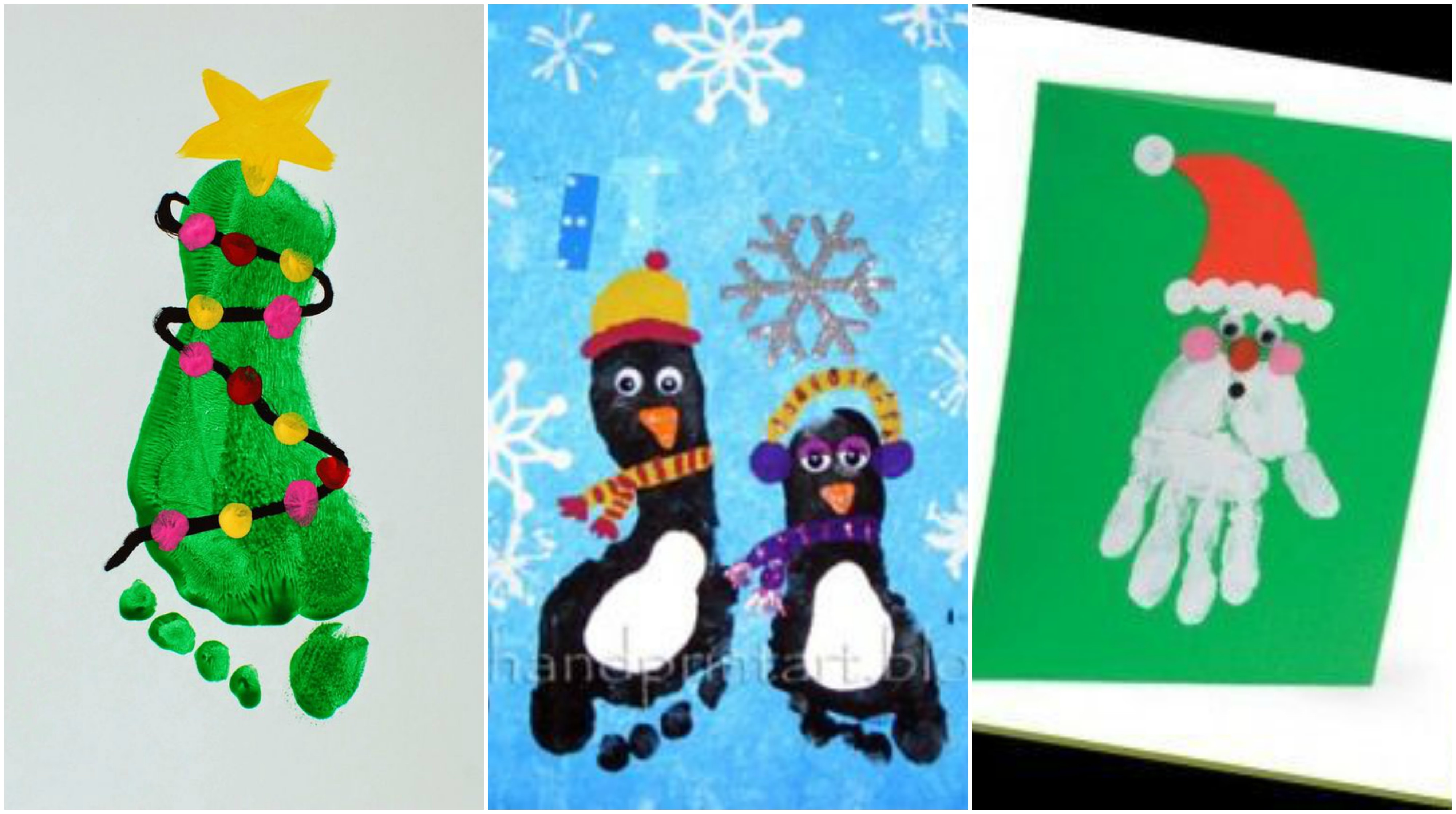 kreative ideen mit hand und fu abdr cken f r weihnachten. Black Bedroom Furniture Sets. Home Design Ideas