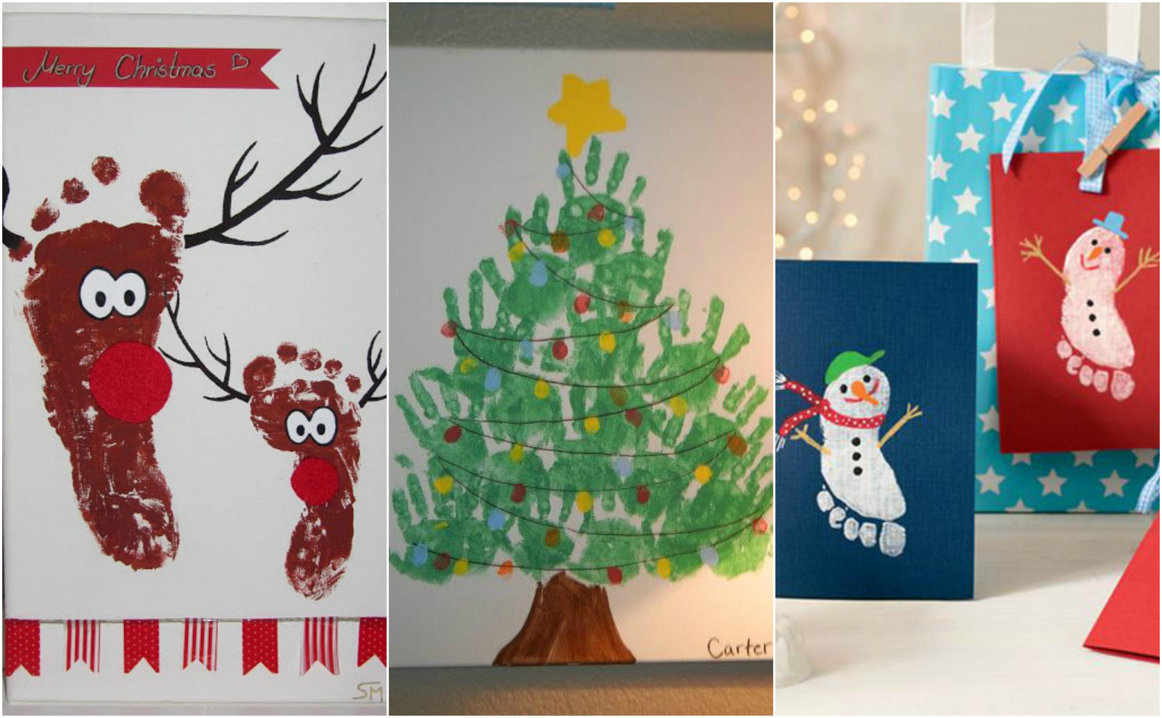 Süße Weihnachten-Bastelideen mit Handabdrücken und ...