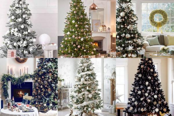 kreativ dekorierte weihnachtsb ume in neutralen farben. Black Bedroom Furniture Sets. Home Design Ideas