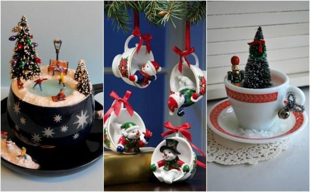 15 diy weihnachten niedliche bastelideen mit teetassen. Black Bedroom Furniture Sets. Home Design Ideas