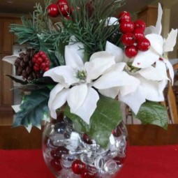 Christmas Flower Arrangements For Table | Cheminee.website with Christmas Floral Table Decorations