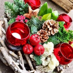 Simple holiday centerpiece ideas table space wood decor diy candles wreath holiday style rustic.jpg