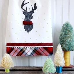 Stylish christmas deer dish towel.jpg