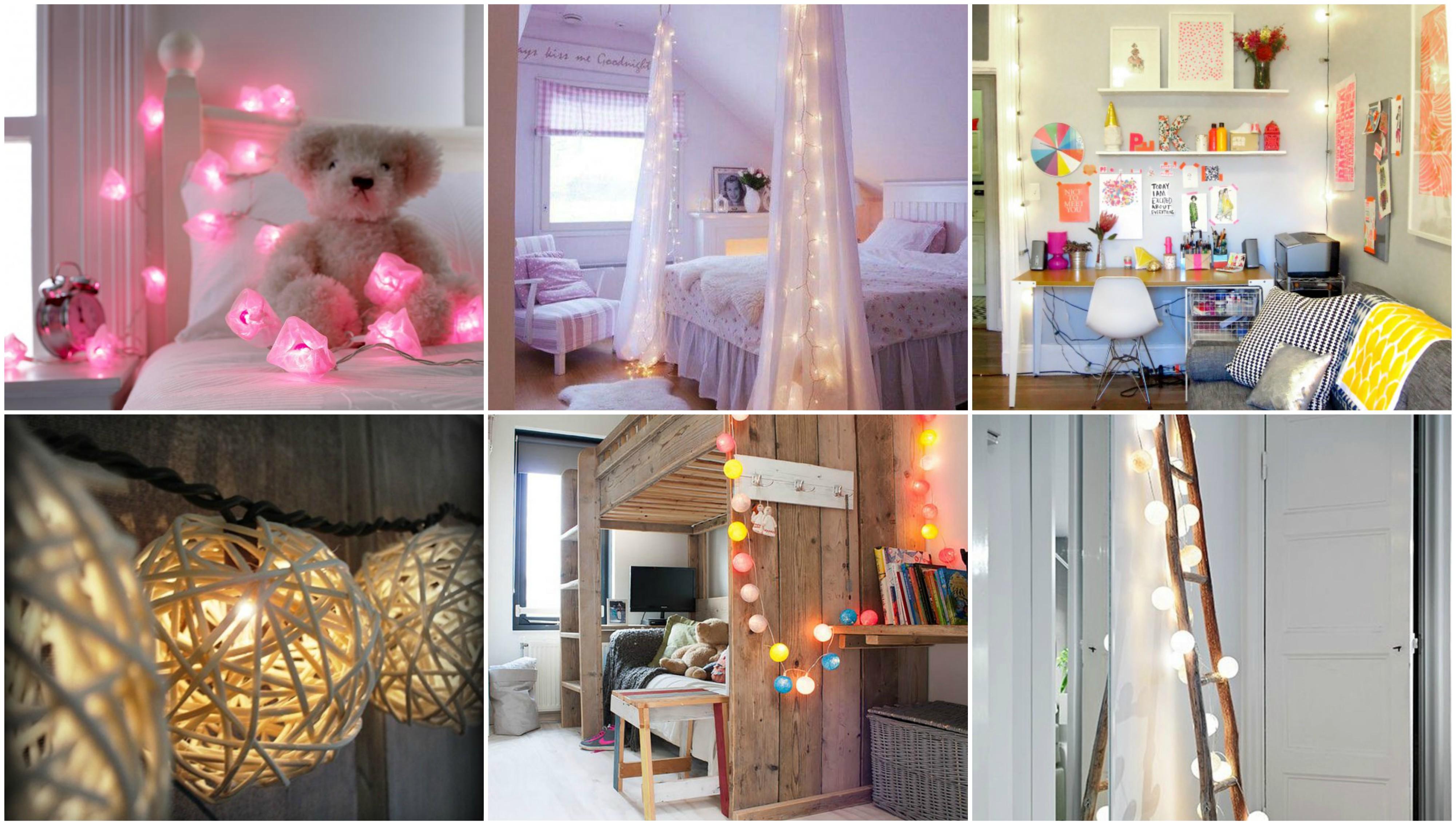 schlafzimmer oder kinderzimmer mit lichterketten. Black Bedroom Furniture Sets. Home Design Ideas