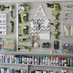 Diy garage pegboard for tools spray paint and supplies. only need 5.5 inches for depth. the creativity exchange.jpg