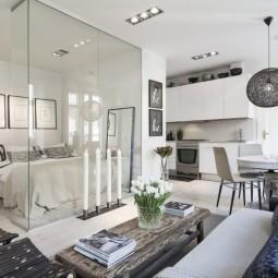 Falchi interiors small flat in stockholm bedroom transparent walls.jpg