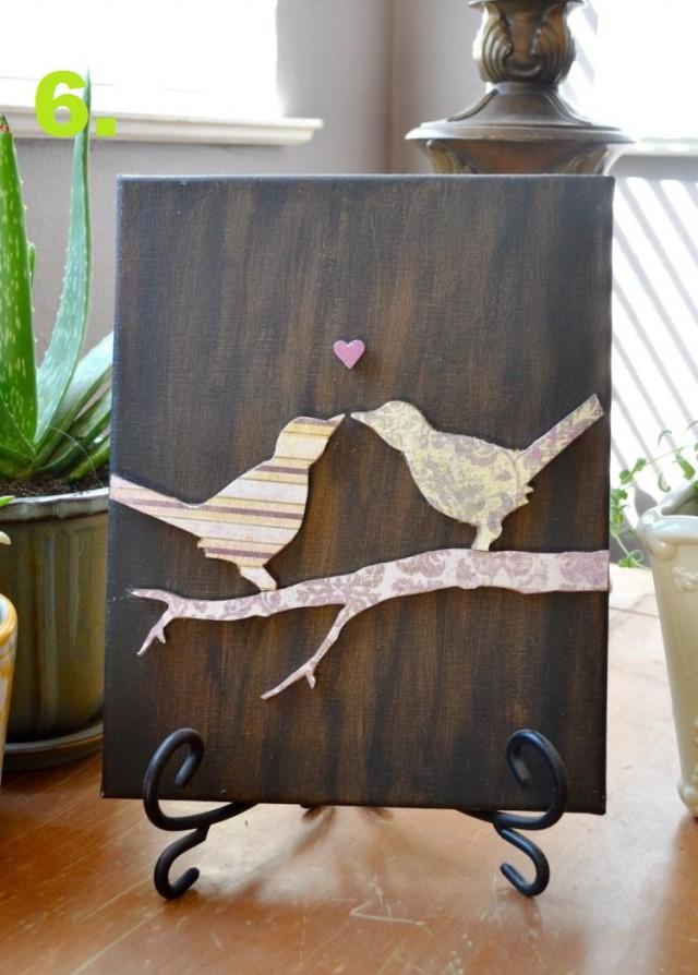 Keilrahmen gestalten vogel bild 3d pappe braun hintergrund.jpg