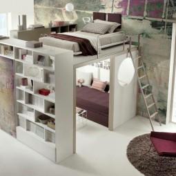 Kleine wohnung einrichten hochbett leiter wohnwand regale couch.jpg