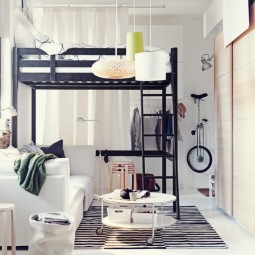 Amazing small bedroom design with black bunk bed feat stais also white couch and small round coffee table 915x686.jpg
