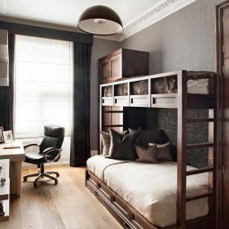 An incredible classic bedroom design with wooden flooring and grey wall with teakwood cabinetry also bunk bed idea with creative wooden desk and luxurious black swivel chair with tv rack.jpg