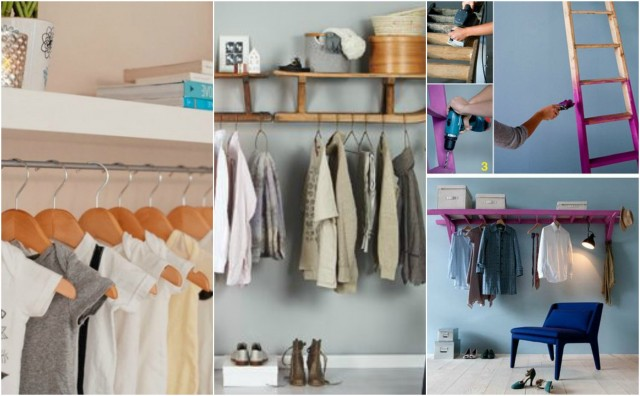 platz sparen kleiderstange f r wand selber bauen. Black Bedroom Furniture Sets. Home Design Ideas