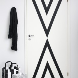 Black striped contact paper door update renter friendly.jpg