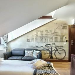 Dachschraege ideen schlafzimmer wandgestaltung vintage fototapete fahrrad motto.jpg