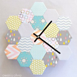 Fabric block hexagon clock.jpg