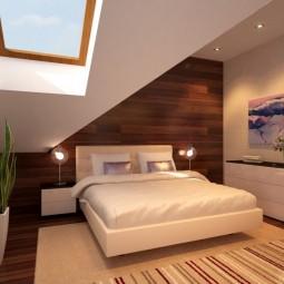 Schlafzimmer dachschraege gestalten holzwand ideen bett.jpg