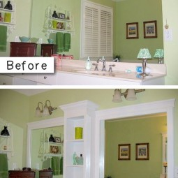 3. add molding and shelves to an otherwise boring bathroom mirror. 27 easy remodeling projects that will completely transform your home.jpg