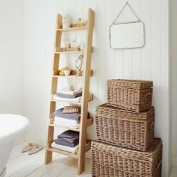 Badgestaltung ideen leiter regal tuchhalter rattankoerbe landhausstil beispiele 1.jpg
