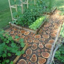 Gartenweg holz fugen erde gemuesegarten gestaltung baumstammscheiben 1.jpg
