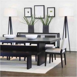 Japanese dining room ideas with white rug and black modern table ideas using tripod floor lamp.jpg