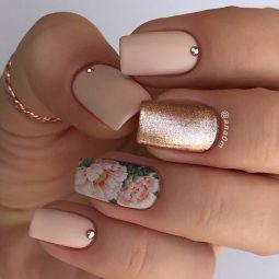 Floral water decal nail with rose gold.jpg