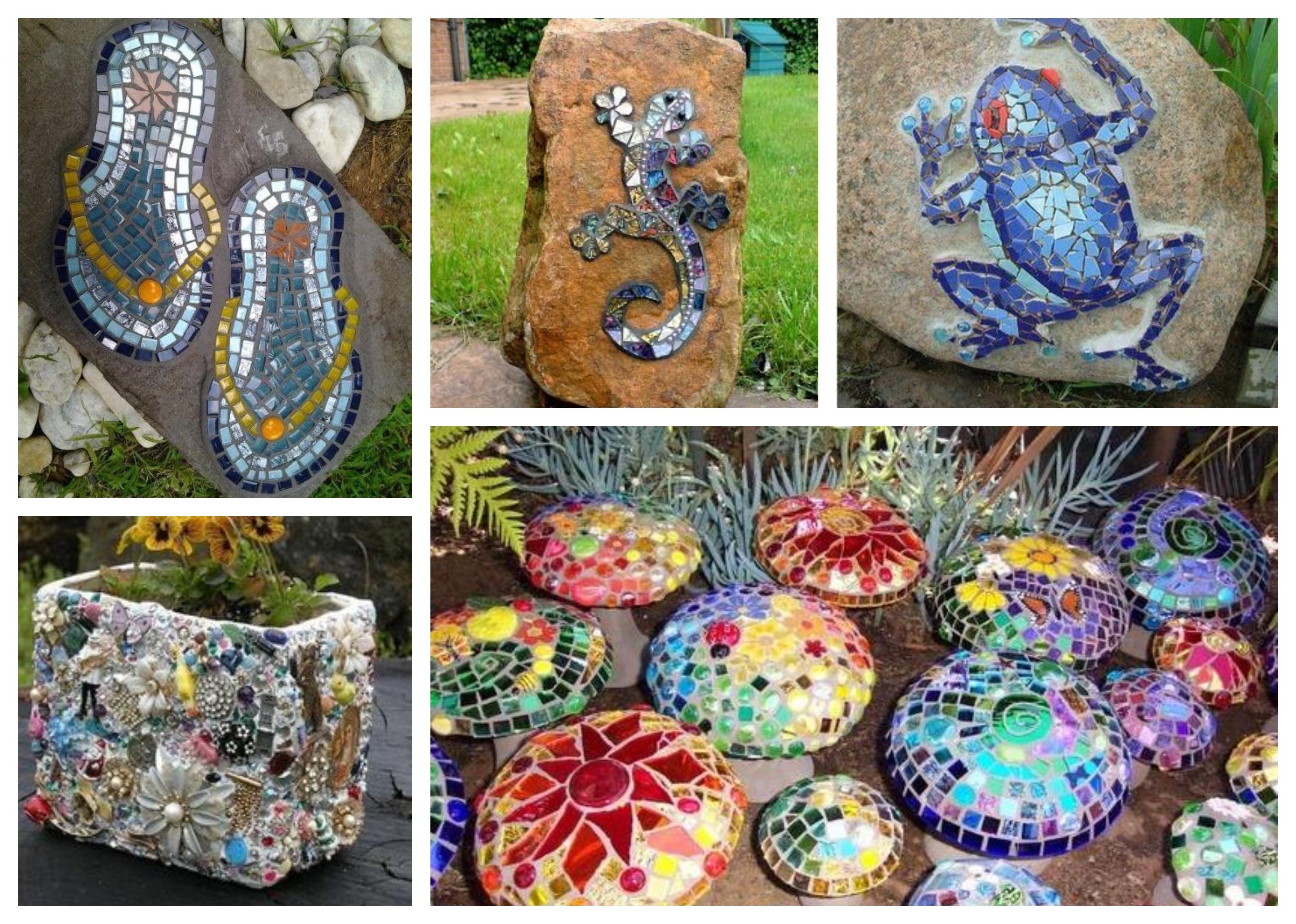10 Tolle Ideen Steine Im Garten Mit Mosaik Dekorieren