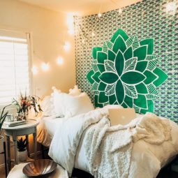 Green mandala tapestry cute dorm rooms.jpg