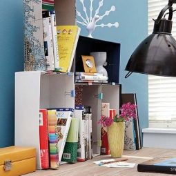 Diy home office organization desk boxes binder clips books 1.jpg