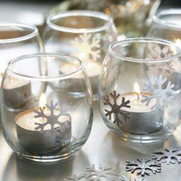 Glass votives, lit tealights W&H 12/2011 pub orig