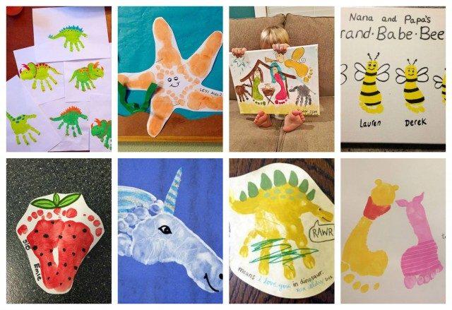 Kinder Und Kreativität Malen Mit Hand Und Fußabdrücken