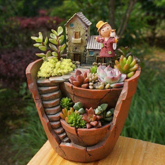 Minigarten, Mini-Garten, DIY Minigarten, Minigarten im Blumentopf, Minigarten im Tontopf, wunderschöne Gartendeko