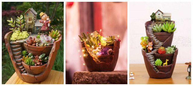 DIY märchenhafte Dekoration: ein Minigarten in einem Blumentopf :)