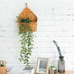 Blumentöpfe aus Naturmaterialien, Blumentöpfe aus Rattan, Blumentöpfe aus Holz